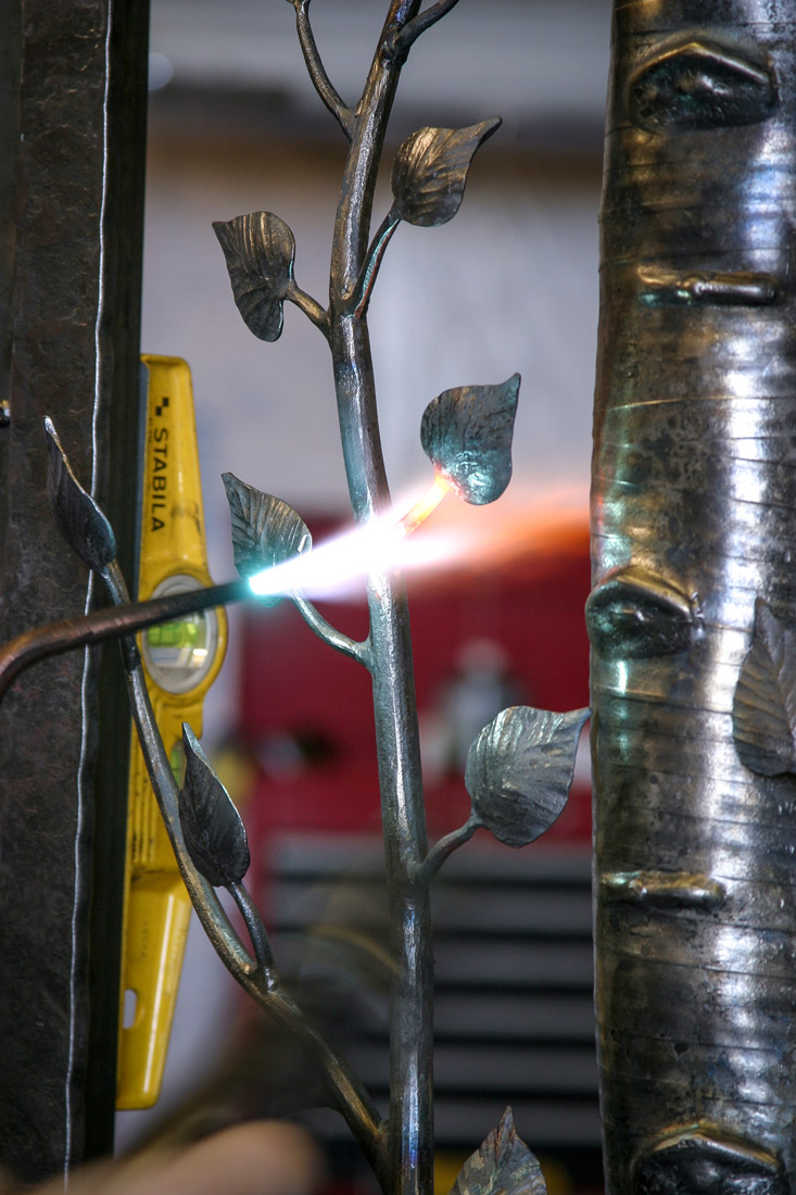 torch forging iron aspen leaf